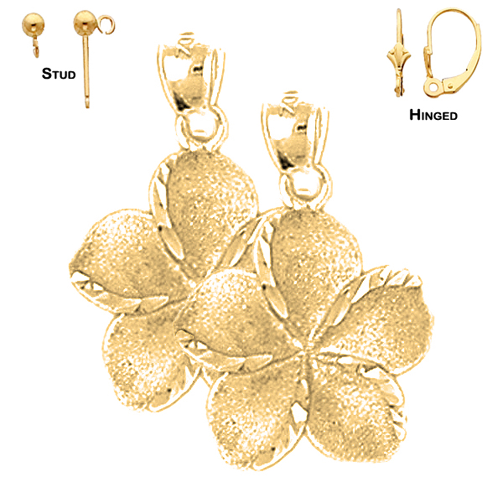 4286cbc7ae51f 14K Yellow Gold 24mm Plumeria Flower Earrings | Shop our selection ...