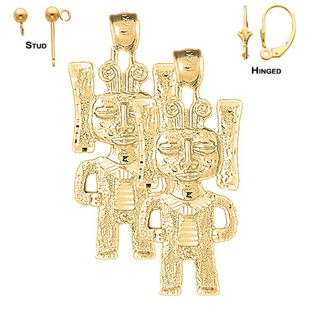 14k Yellow Gold 38mm Indian Symbols Earrings Shop Our Selection Of