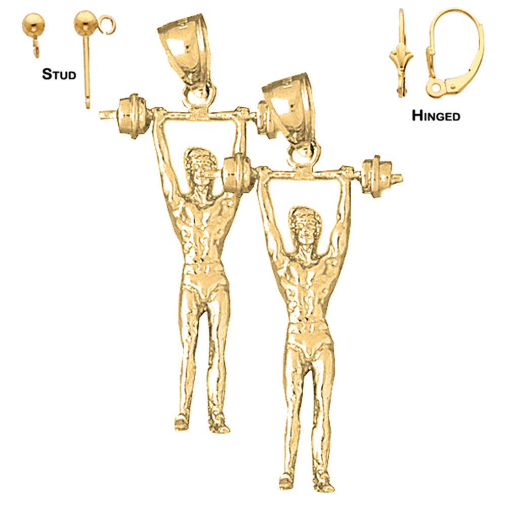 14K Yellow Gold 40mm 3D Body Builder Earrings | Shop our selection