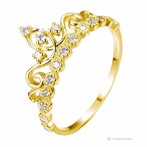 14K Yellow Gold Dainty CZ Princess Crown Ring