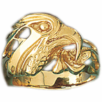14K Yellow Gold Eagle Head Men's Ring