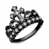 Black Rhodium-plated 925 Sterling Silver CZ Cross Crown Ring