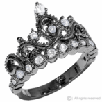 Black Rhodium-plated 925 Sterling Silver Princess Crown Ring