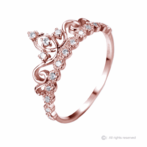 Dainty Rose Gold-plated Silver Princess Crown Ring