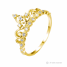 Dainty Yellow Gold-plated Sterling Silver Princess Crown Ring