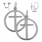 Sterling Silver 21mm Cross in Circle Earrings (White or Yellow Gold Plated)