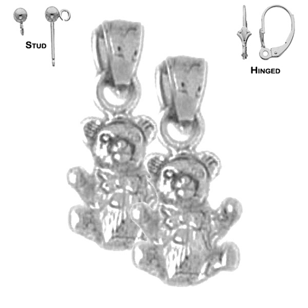 Jewels Obsession Teddy Bear Necklace Rhodium-plated 925 Silver Teddy Bear Pendant with 18 Necklace