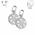 Sterling Silver 16mm Sand Dollar Earrings (White or Yellow Gold Plated)