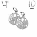 Sterling Silver 17mm Sand Dollar Earrings (White or Yellow Gold Plated)