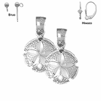 Sterling Silver 18mm Sand Dollar Earrings (White or Yellow Gold Plated)