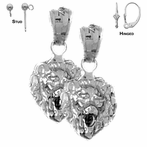 Sterling Silver 19mm Lion Head Earrings (White or Yellow Gold Plated)