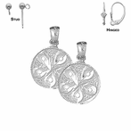 Sterling Silver 19mm Sand Dollar Earrings (White or Yellow Gold Plated)