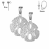 Sterling Silver 21mm Sand Dollar Earrings (White or Yellow Gold Plated)