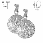 Sterling Silver 22mm Sand Dollar Earrings (White or Yellow Gold Plated)