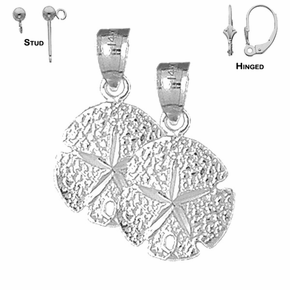 Sterling Silver 23mm Sand Dollar Earrings (White or Yellow Gold Plated)