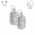Sterling Silver 24mm 3D Raft Earrings (White or Yellow Gold Plated)