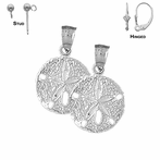 Sterling Silver 24mm Sand Dollar Earrings (White or Yellow Gold Plated)