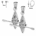 Sterling Silver 25mm 3D Kayak Earrings (White or Yellow Gold Plated)