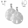 Sterling Silver 26mm Sand Dollar Earrings (White or Yellow Gold Plated)