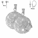 Sterling Silver 27mm Sand Dollar Earrings (White or Yellow Gold Plated)