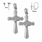 Sterling Silver 29mm Cross With Star of David Earrings (White or Yellow Gold Plated)