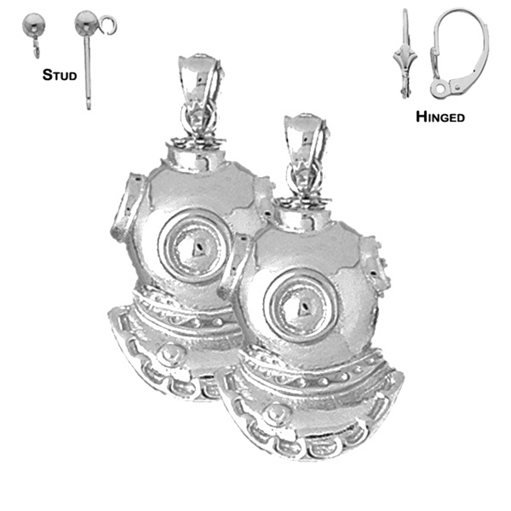 Jewels Obsession Diving Helmet Necklace Rhodium-plated 925 Silver Diving Helmet Pendant with 18 Necklace