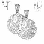 Sterling Silver 32mm Sand Dollar Earrings (White or Yellow Gold Plated)
