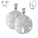 Sterling Silver 35mm Sand Dollar Earrings (White or Yellow Gold Plated)