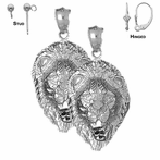 Sterling Silver 38mm Lion Head Earrings (White or Yellow Gold Plated)