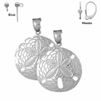 Sterling Silver 38mm Sand Dollar Earrings (White or Yellow Gold Plated)