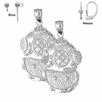 Sterling Silver 39mm Diving Helmet Earrings (White or Yellow Gold Plated)