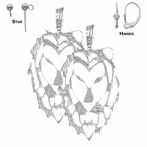 Sterling Silver 40mm Lion Head Earrings (White or Yellow Gold Plated)