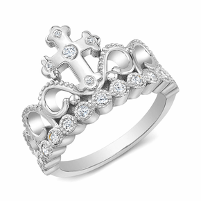 Rhodium-plated 925 Sterling Silver CZ Cross Crown Ring