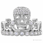 Silver Skull Crown Ring (Rhodium-plated)