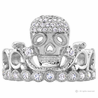 Rhodium-plated 925 Sterling Silver Skull Crown Ring / Princess Ring