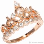 Rose Gold-plated 925 Sterling Silver Crown Ring