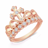 Rose Gold-plated 925 Sterling Silver CZ Cross Crown Ring