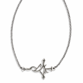 Stainless Steel Polished Gothic Sideways Cross Necklace