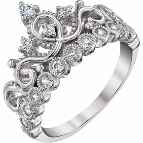 Rhodium-plated 925 Sterling Silver Princess Crown Ring