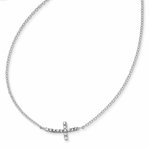 Sterling Silver with CZ Offset Sideways Cross with 2 inch Ext. Necklace