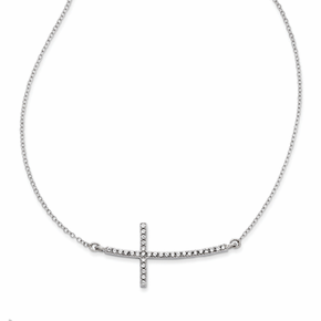 Sterling Silver with CZ Sideways Cross with 2 inch Ext. Necklace