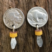 Buffalo Nickel Earrings with Feather. Nickel Earrings with Bead.