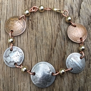Buffalo Nickel, Pennies and Dimes Bracelet