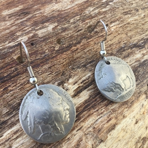 Buffalo Nickels on Wire Earrings