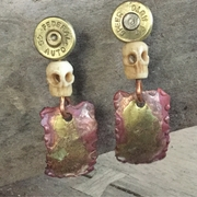 Copper and Brass Earrings with Bullets and Skull Beads
