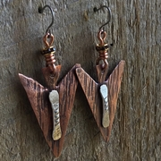 Copper and Silver Earrings with Austrian Crystal. Light Weight Earring