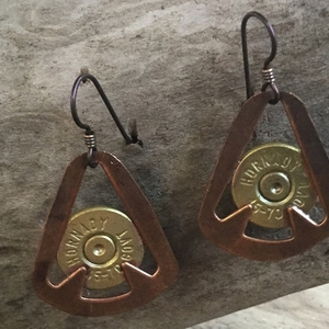 Copper Arrowhead Earrings with Brass Bullets