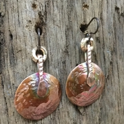 Free Form Copper with Copper Toppers and Brass Rings Earrings. Copper