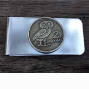 Valentine's Day Gift. Greek Drachma Money Clip. Greek Owl Coin Money Clip. Handmade Money Clip. Owl Gift For a Man.