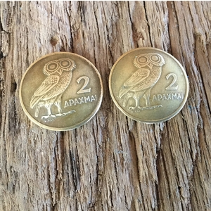 Greek Drachma Post Earrings. Athena Earrings on Post. Goddess of Wisdom Earrings